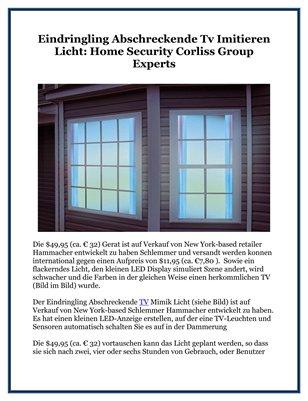 Eindringling Abschreckende Tv Imitieren Licht: Home Security Corliss Group Experts