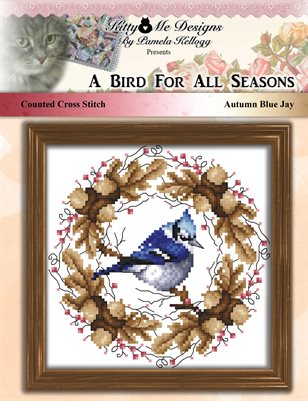 A Bird For All Seasons Autumn Blue Jay Cross Stitch Pattern