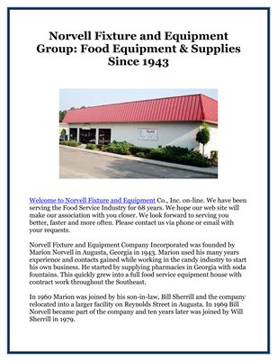 Norvell Fixture and Equipment Group: Food Equipment & Supplies Since 1943