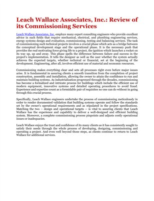 Leach Wallace Associates, Inc.: Review of its Commissioning Services