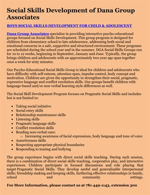 Social Skills Development of Dana Group Associates