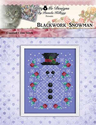 Blackwork Snowman Counted Cross Stitch Pattern