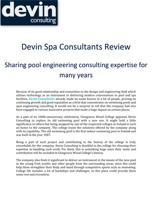 Devin Spa Consultants Review: Sharing pool engineering consulting expertise for many years