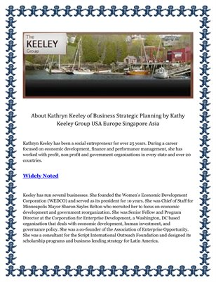 About Kathryn Keeley of Business Strategic Planning by Kathy Keeley Group USA Europe Singapore Asia