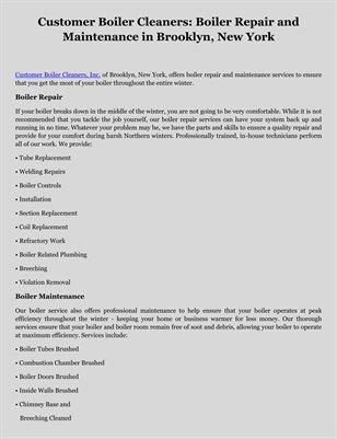 Customer Boiler Cleaners: Boiler Repair and Maintenance in Brooklyn, New York