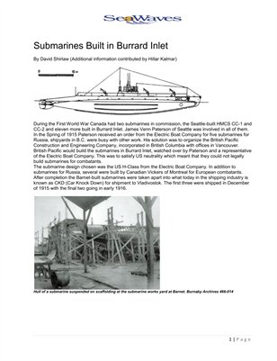 Submarines Built in Burrard Inlet
