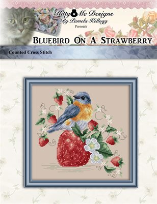Bluebird On A Strawberry Cross Stitch Pattern