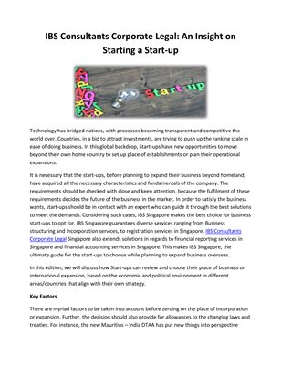 IBS Consultants Corporate Legal: An Insight on Starting a Start-up