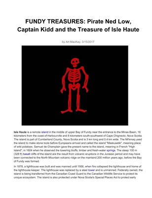 Pirate Ed Lowe and the Treasures on Isle Haute