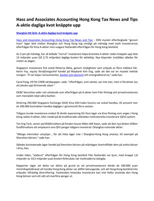 Hass and Associates Accounting Hong Kong Tax News and Tips A-aktie dagliga kvot knäppte upp