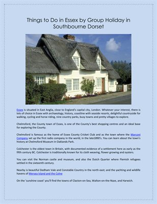 Things to Do in Essex by Group Holiday in Southbourne Dorset