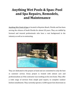 Anything Wet Pools & Spas - Pool & Spa Repairs, Remodels, and Maintenance