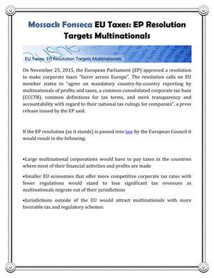 Mossack Fonseca EU Taxes: EP Resolution Targets Multinationals