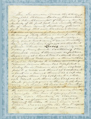 1861 Lewis county, Kentucky deed; Barbara A Canan to Timothy Carrington