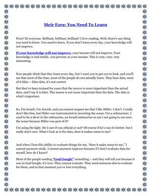 Meir Ezra: You Need To Learn