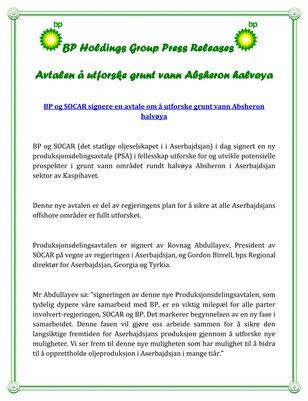 BP Holdings Group Press Releases: Avtalen å utforske grunt vann Absheron halvøya