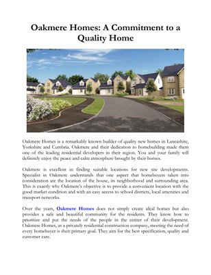 Oakmere Homes: A Commitment to a Quality Home