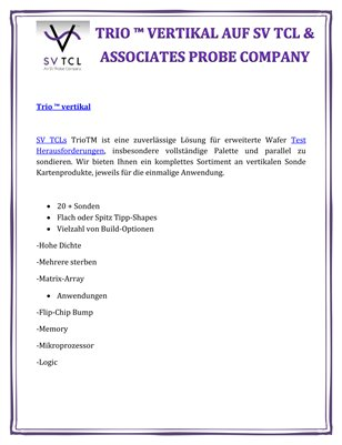 Trio ™ vertikal auf SV TCL & Associates Probe Company