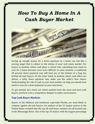 How To Buy A Home In A Cash Buyer Market