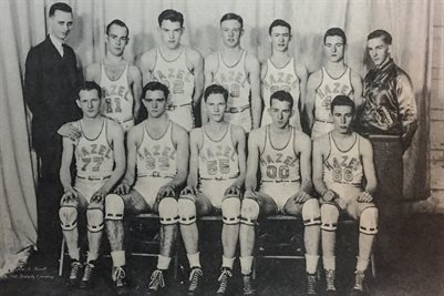 "1945-1946 HAZEL HIGH SCHOOL BASKETBALL TEAM, ""FIRST TEN"", HAZEL, CALLOWAY COUNTY, KENTUCKY"