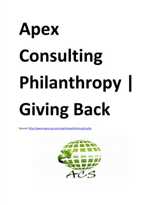 Apex Consulting Philanthropy | Giving Back