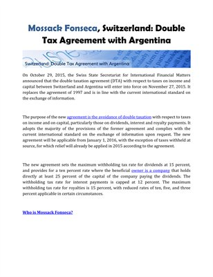 Mossack Fonseca, Switzerland: Double Tax Agreement with Argentina