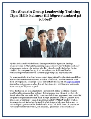 The Shearin Group Leadership Training Tips: Hålls kvinnor till högre standard på jobbet?