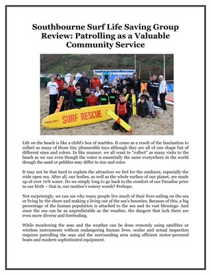 Southbourne Surf Life Saving Group Review: Patrolling as a Valuable Community Service