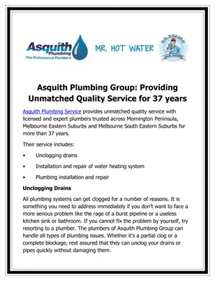 Asquith Plumbing Group: Providing Unmatched Quality Service for 37 years