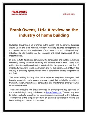 Frank Owens, Ltd.: A review on the industry of home building