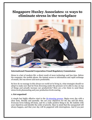 Singapore Huxley Associates: 11 ways to eliminate stress in the workplace