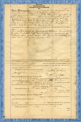 1891 Mortgage, Jas & William Rodgers to J.M. Sawyer, Graves County, Kentucky