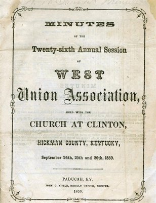 1859 Minutes of the 26 Annual Session of West Union Association