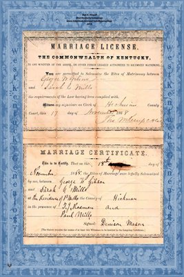 1868 Marriage Records, George W. Gibson to Sarah C. Mills, Hickman County, Kentucky