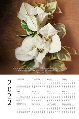 2022 Calendar - Proverbs 3:5,6 - Bougainvillea