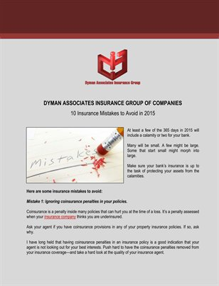 Dyman Associates Insurance Group of Companies: 10 Insurance Mistakes to Avoid in 2015