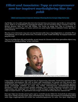 Elliott and Associates: Topp 10 entreprenører som har inspirert markedsføring Star Joe polsk