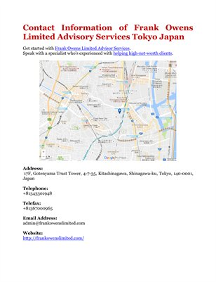 Contact Information of Frank Owens Limited Advisory Services Tokyo Japan