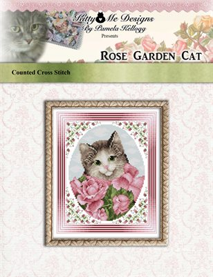 Rose Garden Cat Cross Stitch Pattern