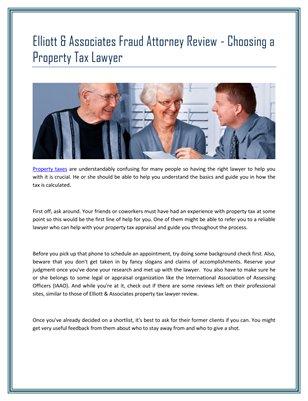 Elliott & Associates Fraud Attorney Review - Choosing a Property Tax Lawyer