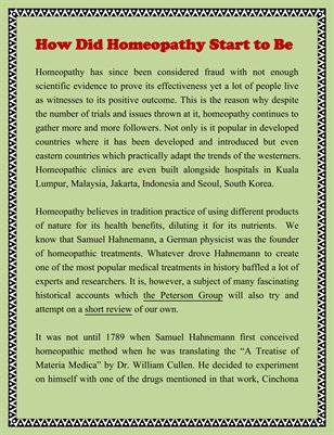 How Did Homeopathy Start to Be