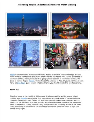 Traveling Taipei: Important Landmarks Worth Visiting