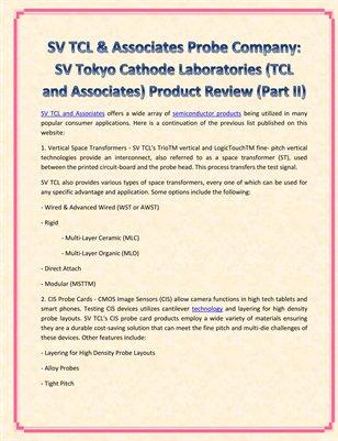 SV TCL & Associates Probe Company