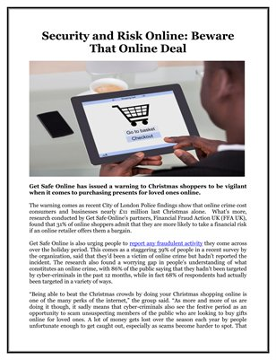 Security and Risk Online: Beware That Online Deal