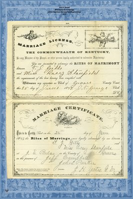 1892 Marriage License and Certificate for T.J. Gills and Miss Rosy Stanfield, Graves County, Kentucky