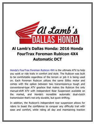 Al Lamb's Dallas Honda: 2016 Honda FourTrax Foreman Rubicon 4X4 Automatic DCT
