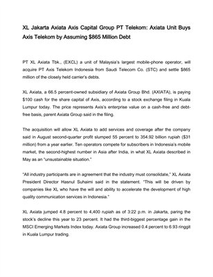 XL Jakarta Axiata Axis Capital Group PT Telekom: Axiata Unit Buys Axis Telekom by Assuming $865 Million Debt