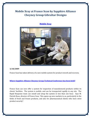 Mobile Xray at France Scan by Sapphire Alliance Cheyney Group Gibraltar Designs
