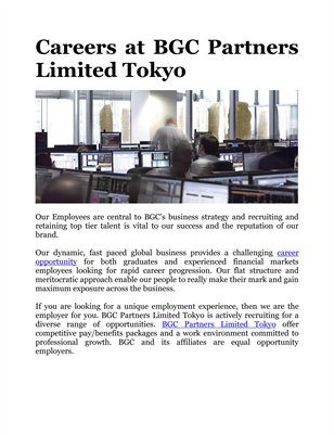 Careers at BGC Partners Limited Tokyo