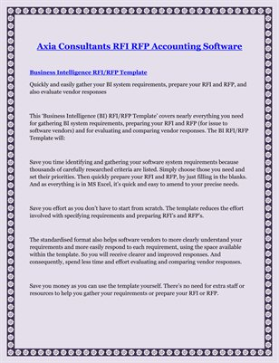 Axia Consultants RFI RFP Accounting Software